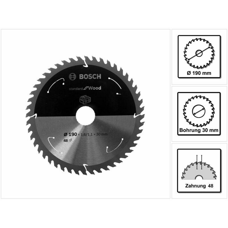 Bosch Lame de scie circulaire Standard pour bois 190 x 1,6 x 30 / 20 mm - 48