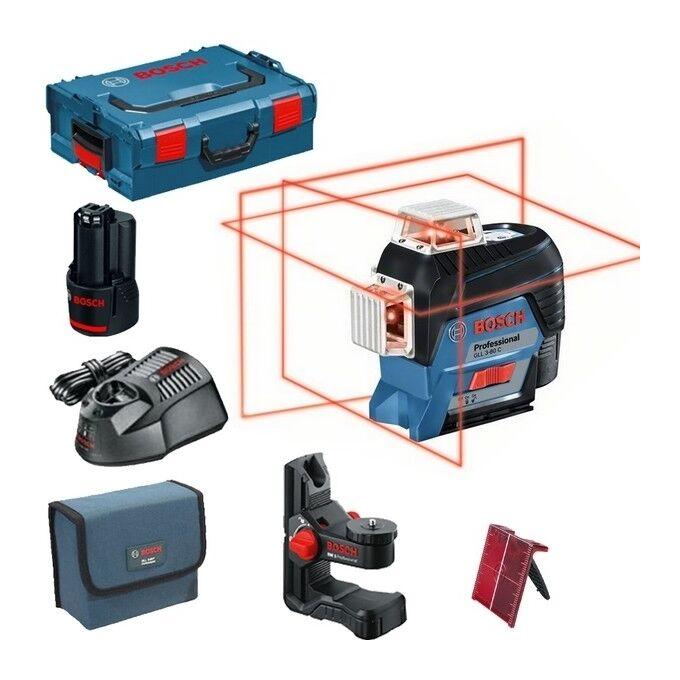 BOSCH Laser lignes BOSCH GLL3-80C - Auto 3 plans 30m + BM1 L-BOXX - 0601063R02