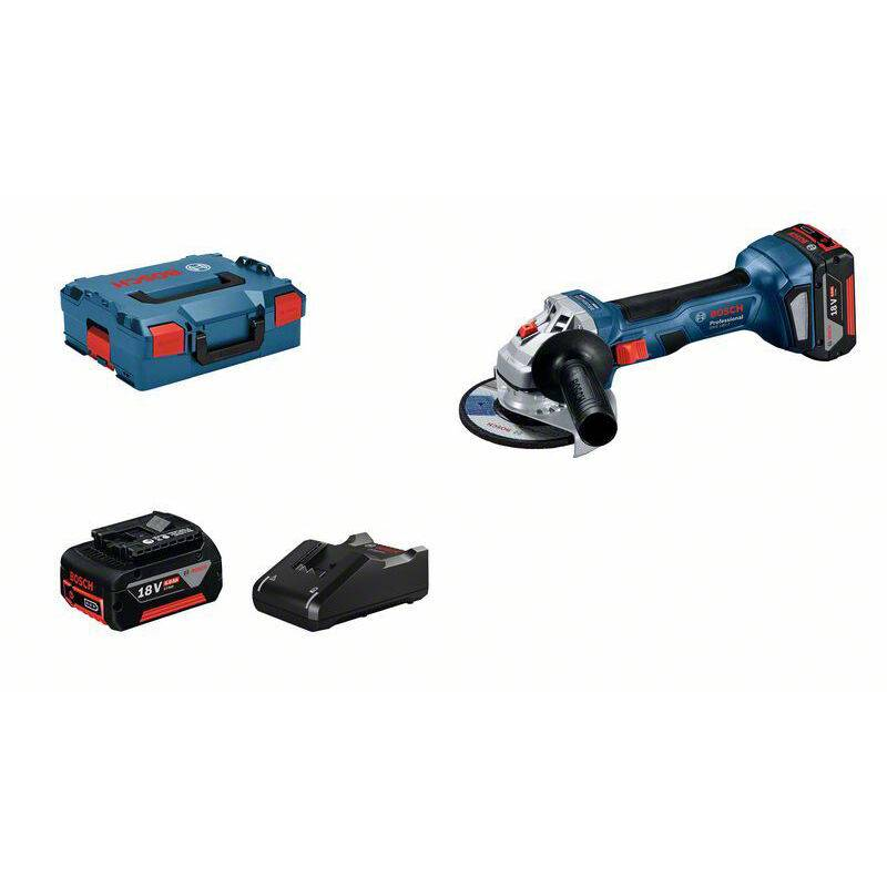BOSCH Meuleuse BOSCH PROFESSIONAL GWS 18V-7 + 2 batteries 4,0Ah + chargeur GAL 18V-40