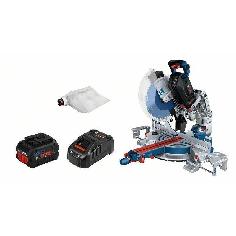 Bosch Scie à onglets sans-fil BITURBO GCM18V-305 GDC: 2x batteries 5.5Ah,