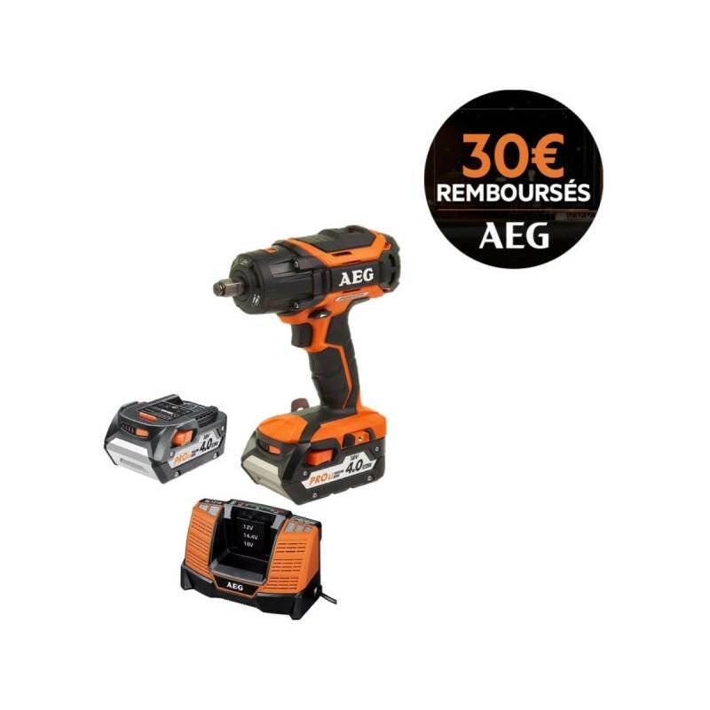 AEG Boulonneuse brushless AEG 18V BSS 18C12ZBL-402C - 2 batteries 4,0Ah - 1 chargeur