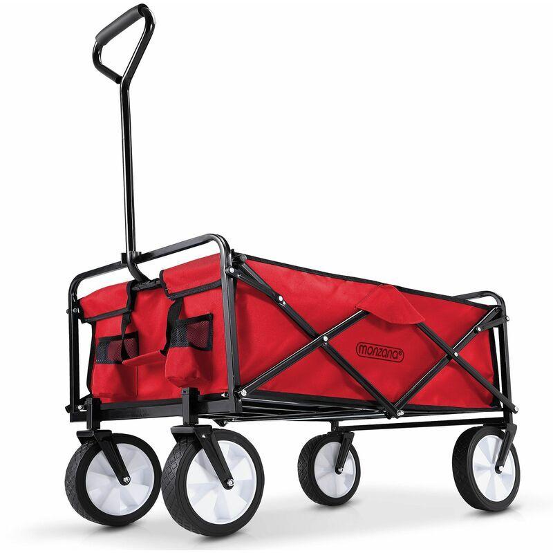 DEUBA Chariot de jardin charrette à main rouge - Pliable - Chariot transport