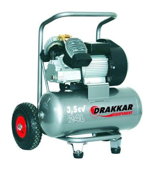 Drakkar Equipement - Compresseur coaxial 24 litres 3,5 cv mono DRAKKAR -S11125