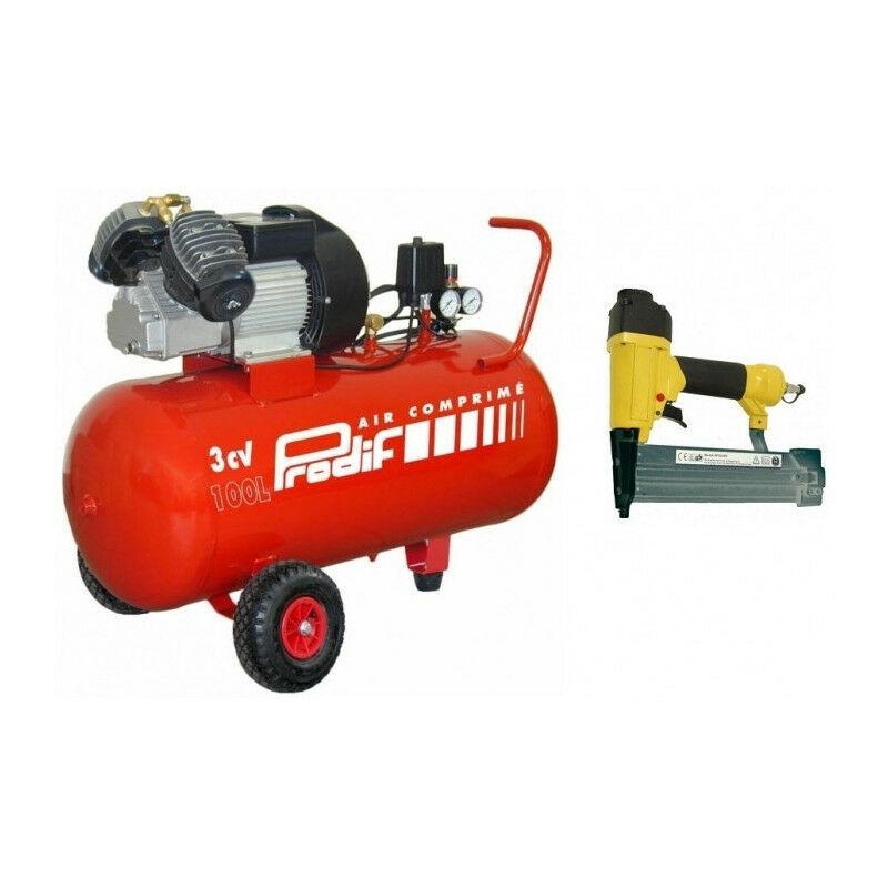 PRODIF Compresseur coaxial 100L 3CV V204710 PRODIF + Agrafeuse - cloueuse pneumatique