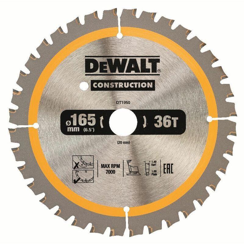 DeWALT Lame de scie circulaire, pour scies circulaires sans fil, 165/20 mm, 40