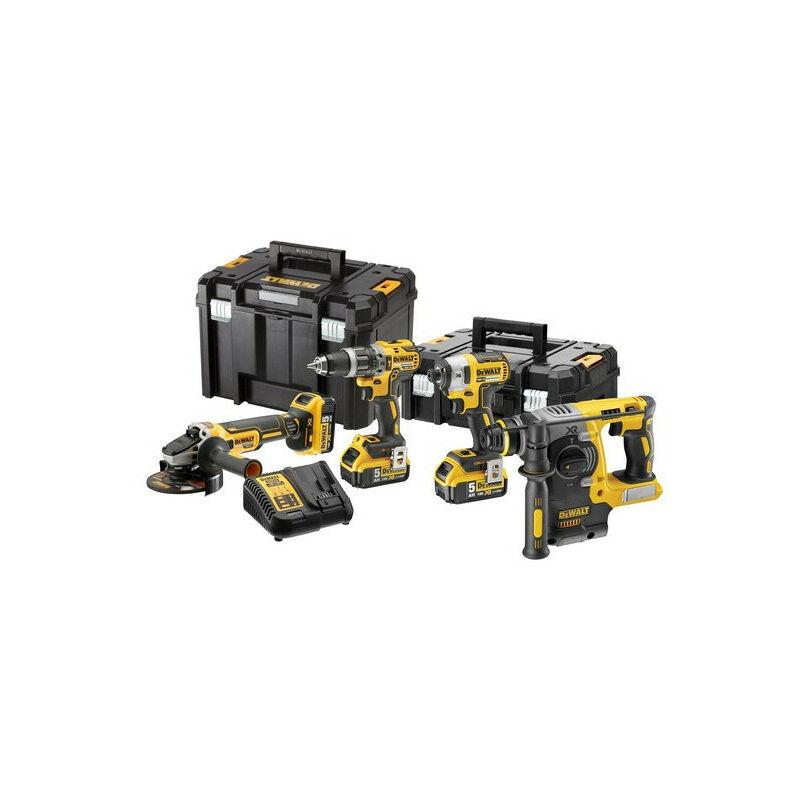 DEWALT Pack 4 outils XR 18V 5Ah Li-Ion Brushless avec coffret T-STAK - TNT - Dewalt
