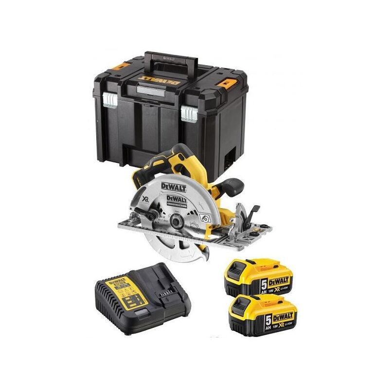 DEWALT Scie circulaire XR 5Ah 184 mm DEWALT + 2 Batteries + Coffret Tstak - DCS572P2-QW