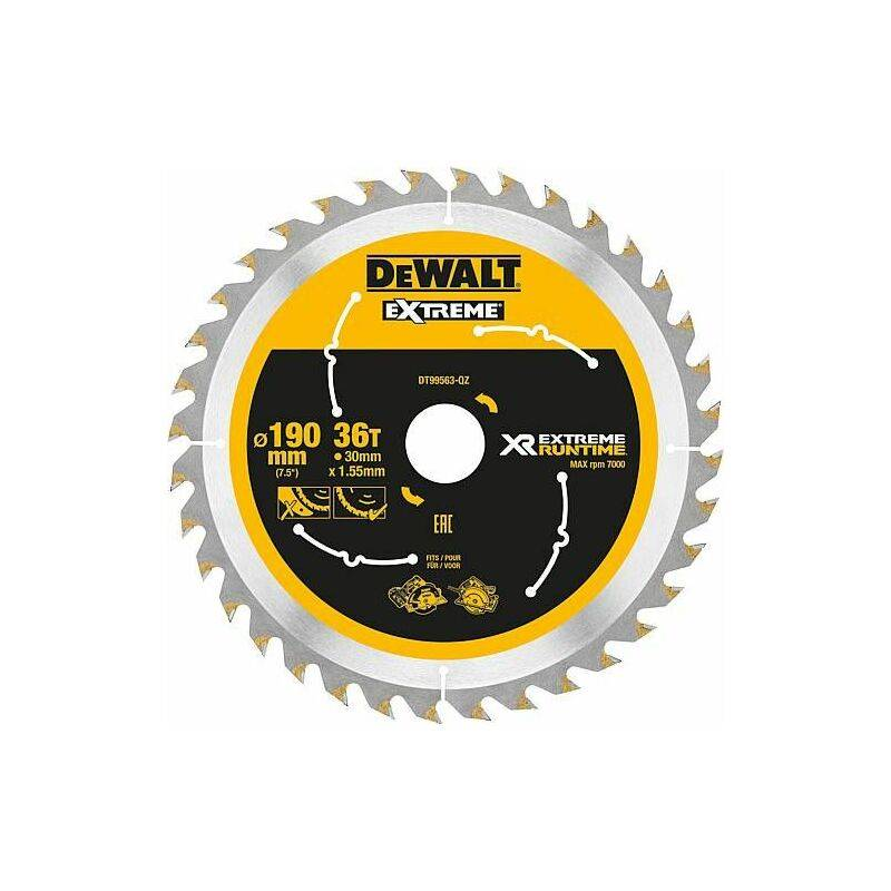 Banyo - Lame scie circulaire DeWalt, DT99563 XR Extreme Runtime 36Z 190/30 mm