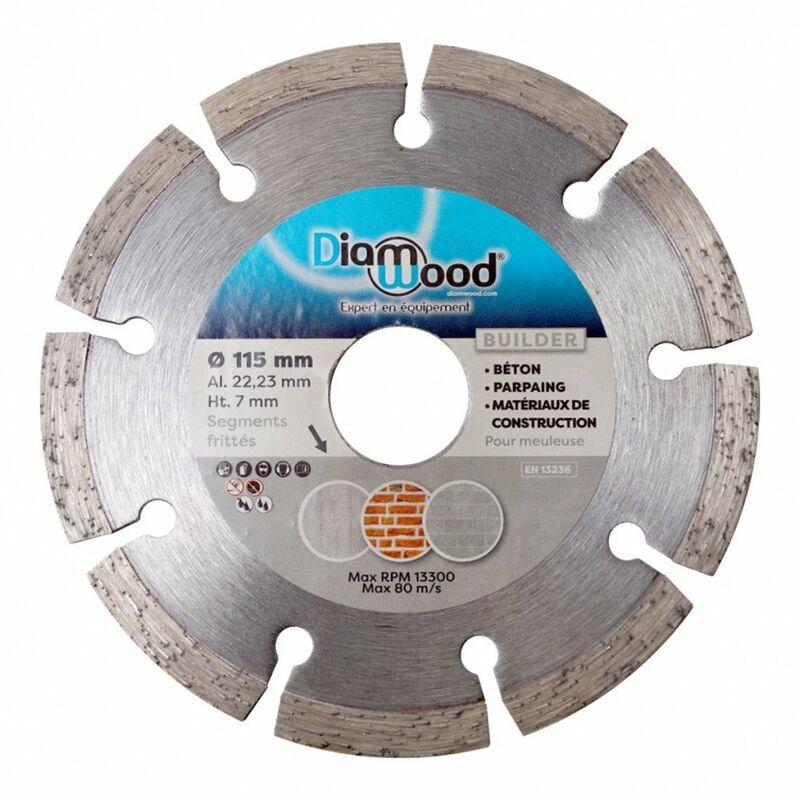 DIAMWOOD Disque diamant 115 x Al. 22,23 x Ht. 7 mm béton, matériaux de construction