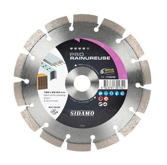 Sidamo - Disque diamant PRO RAINUREUSE D. 180 x 22,23 x H 10 mm Béton / béton