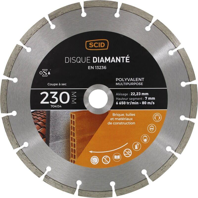 SCID Disque diamanté polyvalent matériaux SCID - Diamètre 230 mm