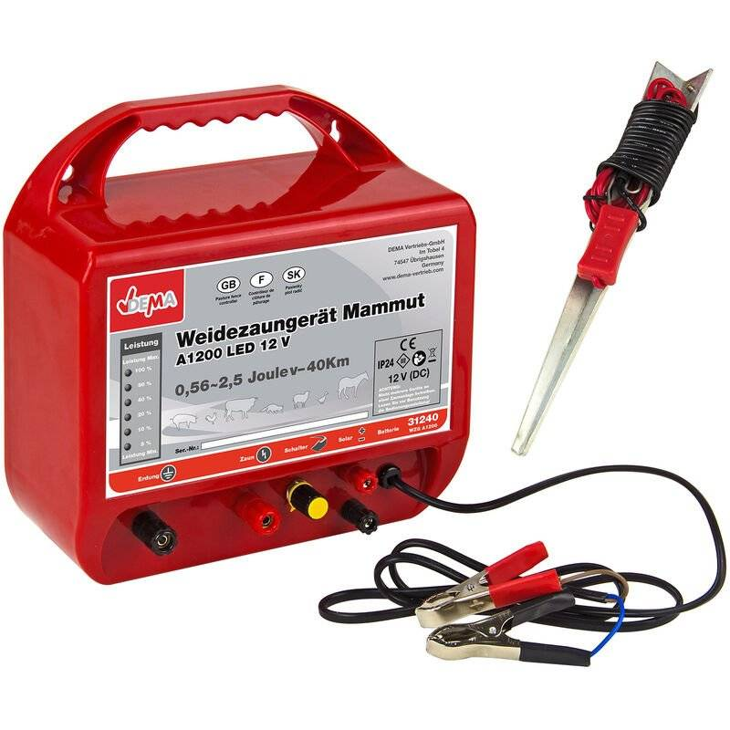 DEMA Electrificateur de clôture 12 V - 0,56-2,5 Joules