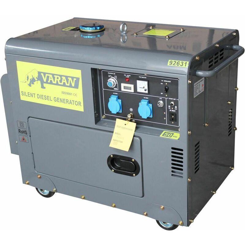 VARAN MOTORS 92631 Groupe électrogène Diesel SILENCIEUX 5.5 KW 230V + 12V - Gris - Varan