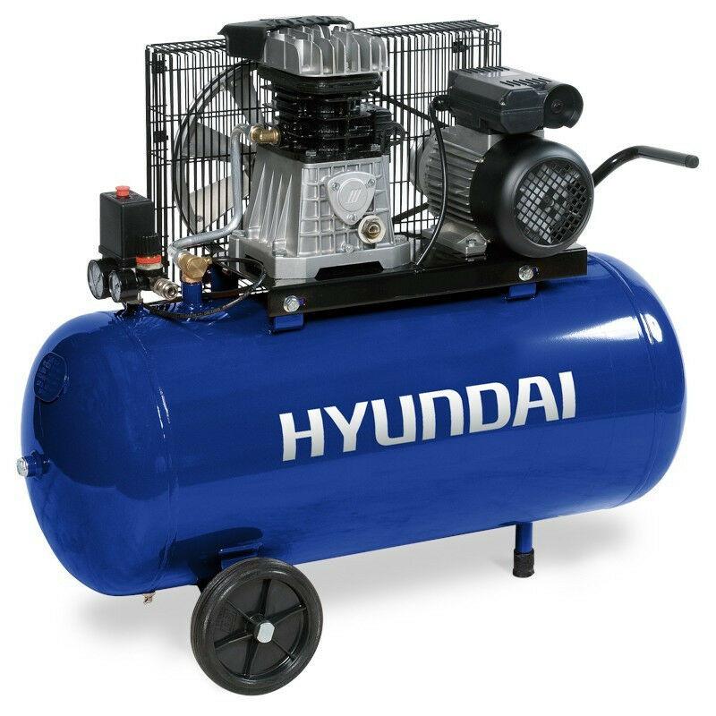 Hyundai E - HYUNDAI HYACB100-3 Compresseur Pro 10 Bar 100 Litres courroie