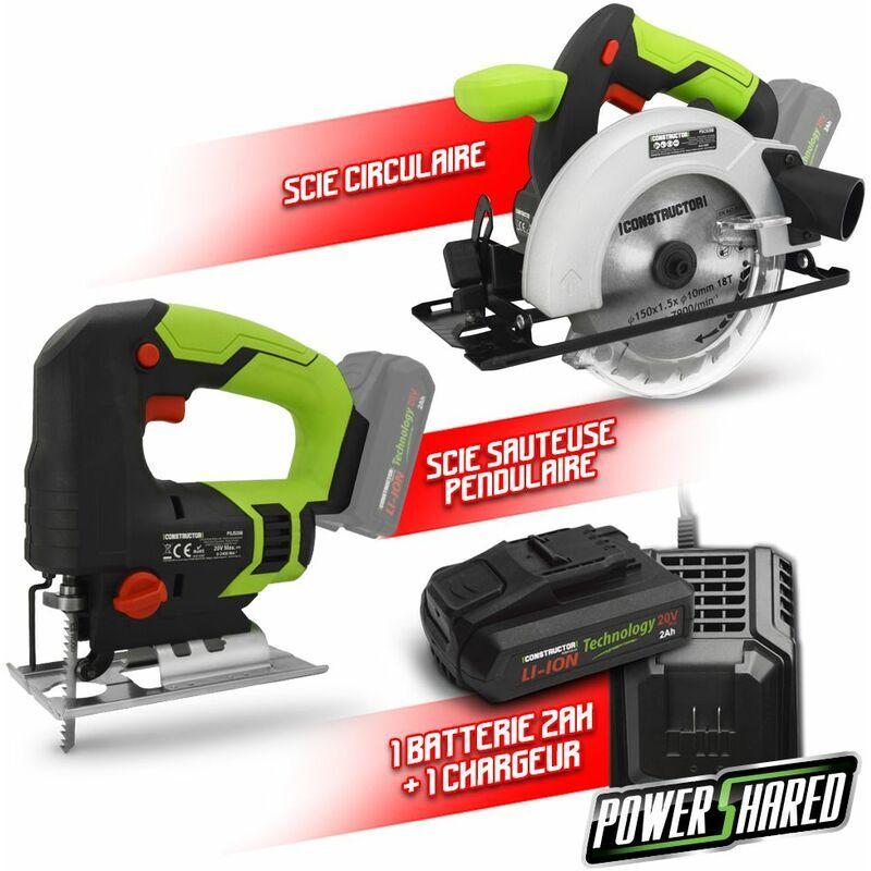Constructor - Kit 2 machines sans fil 20V + 1 bat 2Ah - Construc