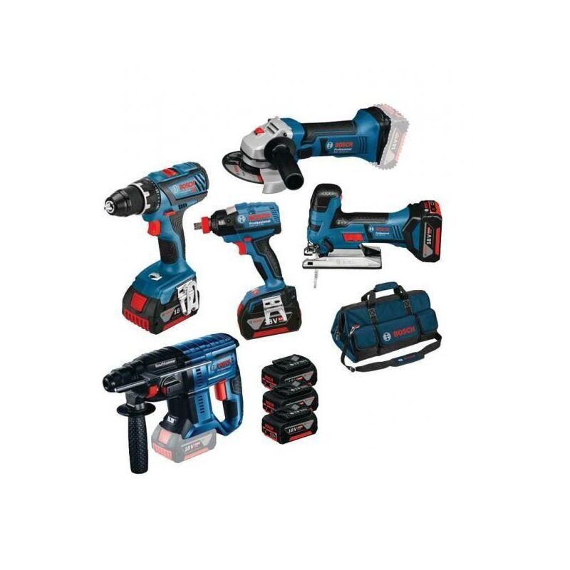 Bosch - KIT 5 OUTILS GSR 18V+ GST 18V+ GWS 18V+ GDX 18V-EC+ GBH 18V+ 3X4AH+SAC