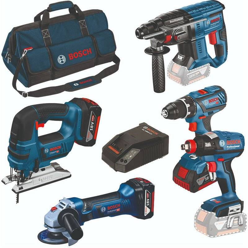 Bosch 0615990K6L - Set outils complété 18V (5pcs) GSR/GST/GWS/GDX/GBH (3x