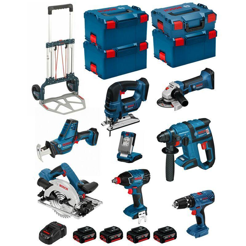 BOSCH Kit PSL8P4A+Caddy (GST 18 V-LIB+GKS 18V-57G+GDX 18V-LI+GBH 18V-EC+GSA