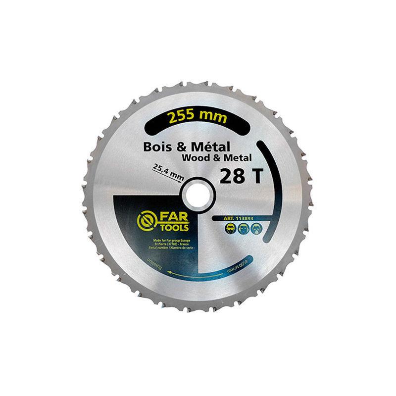 FARTOOLS Lame de scie à onglet bois / métal - 28 TPI - D. 255 x 2 x Al. 25,4 mm - -