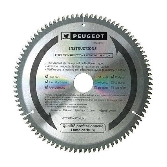 PEUGEOT PSP Lame carbure pour scie circulaire D. 254 x 30 mm x Z 80 - Bois/alu/PVC - 801347