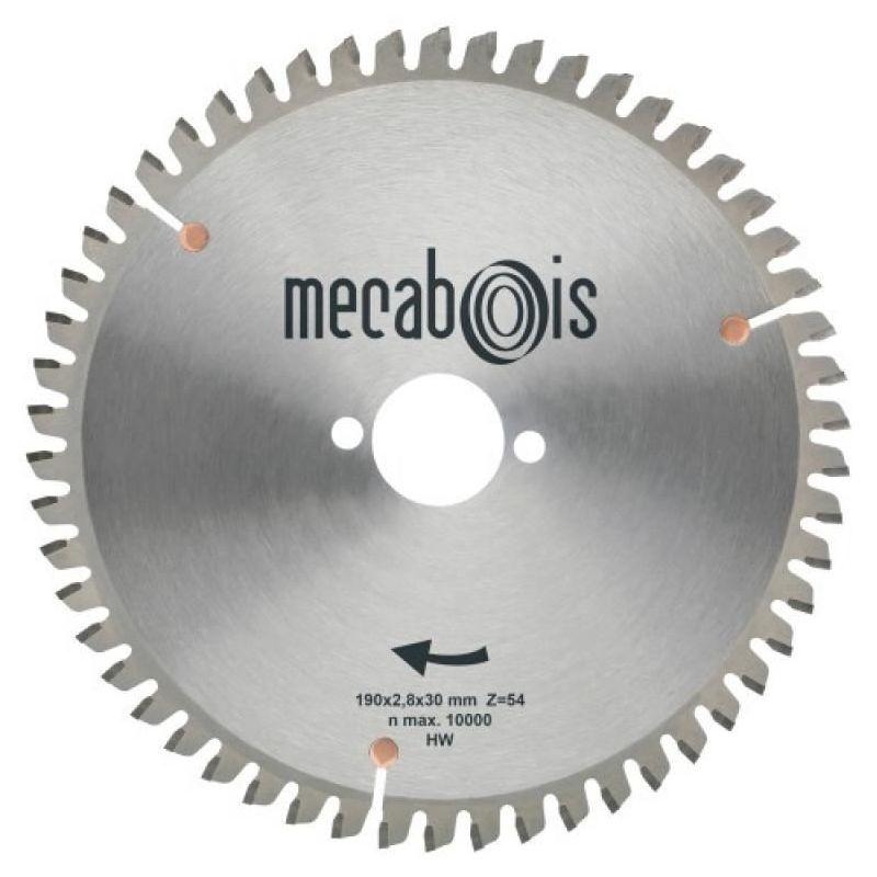 MECABOIS Lame carbure universelle alu PVC, diamètre 190, alésage 30, 54 dents