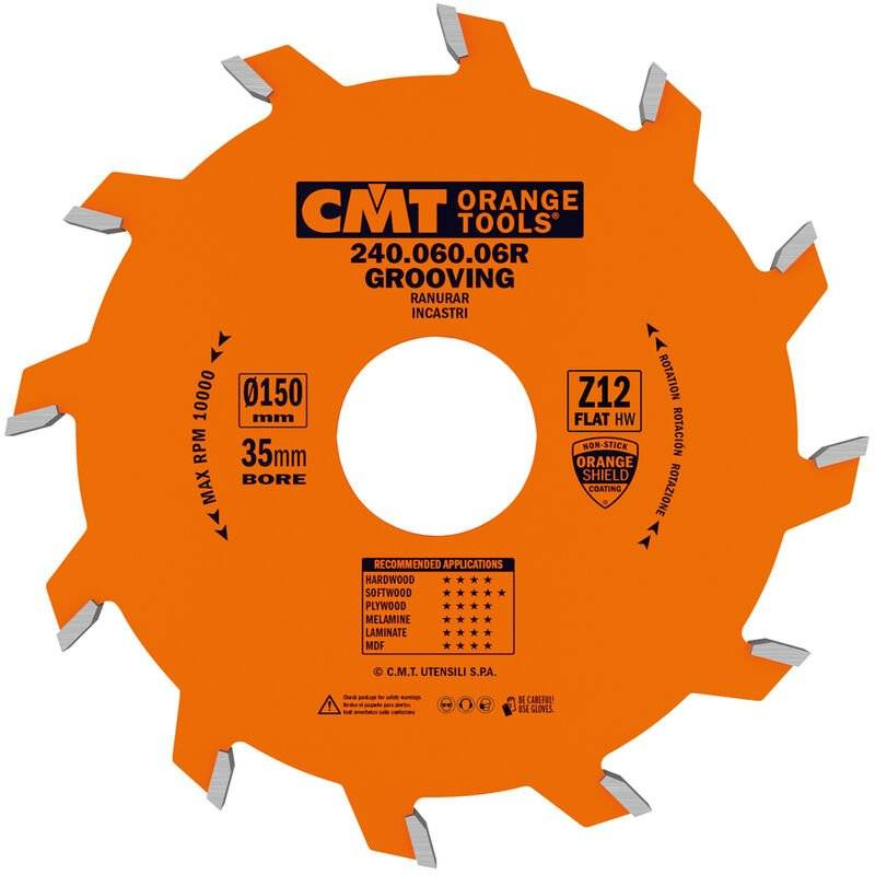 Cmt Orange Tools - 240.060.06R LAME CIRCULAIRE À RAINURER D=150X6X35 Z=12 PLAN