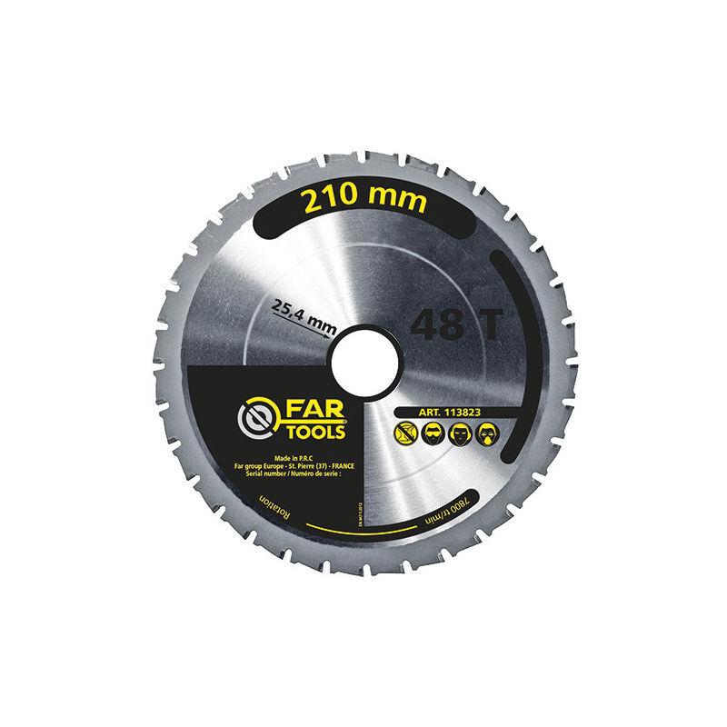 Fartools - Lame de scie circulaire à onglet et portative bois D. 210 x Al. 25,4