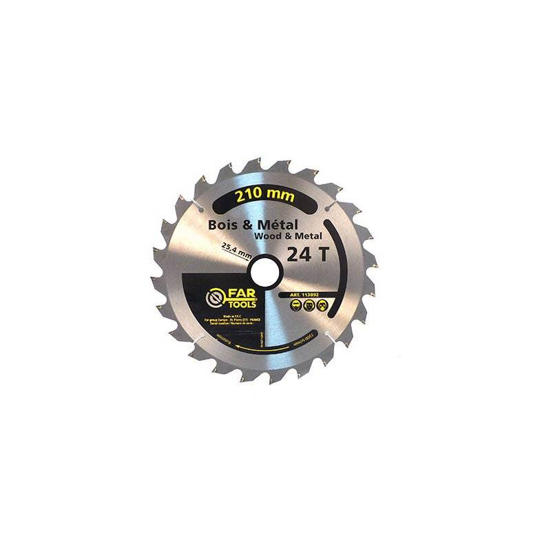 FARTOOLS Lame de scie à onglet bois / métal - 24 TPI - D. 210 x Al. 24,5 mm - -