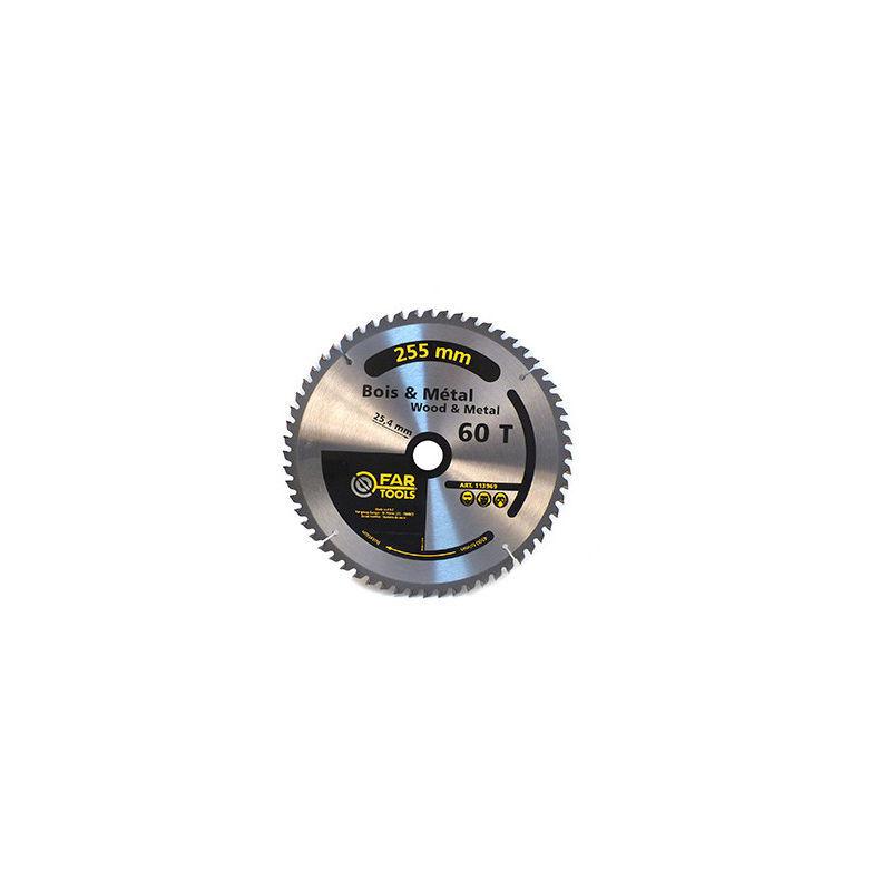 Fartools - Lame de scie circulaire bois / métal D. 254 x Al. 25,4 mm x 60 TPI