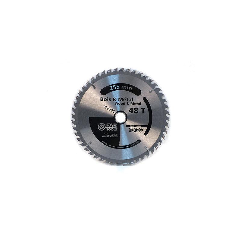 Fartools - Lame de scie circulaire bois / métal D. 254 x Al. 30 mm x 48 dents