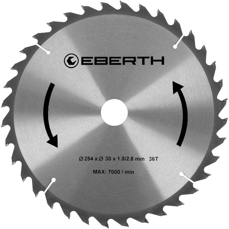 Eberth - Lame de Scie Circulaire en Carbure Bois (254 x 2,8 x 30 mm, 36 dents,