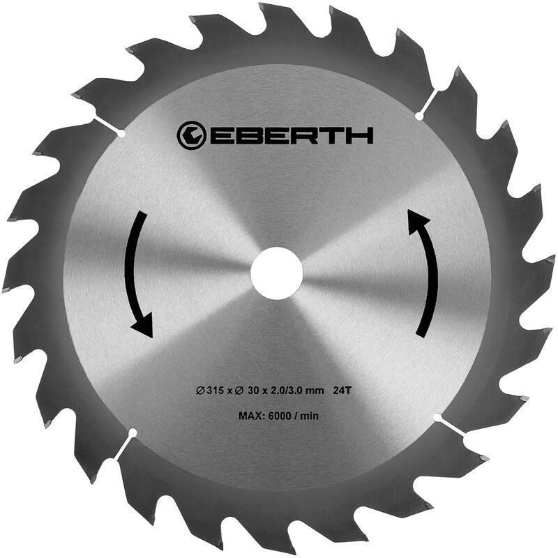 Eberth - Lame de Scie Circulaire en Carbure Bois (315 x 3,0 x 30 mm, 24 dents,