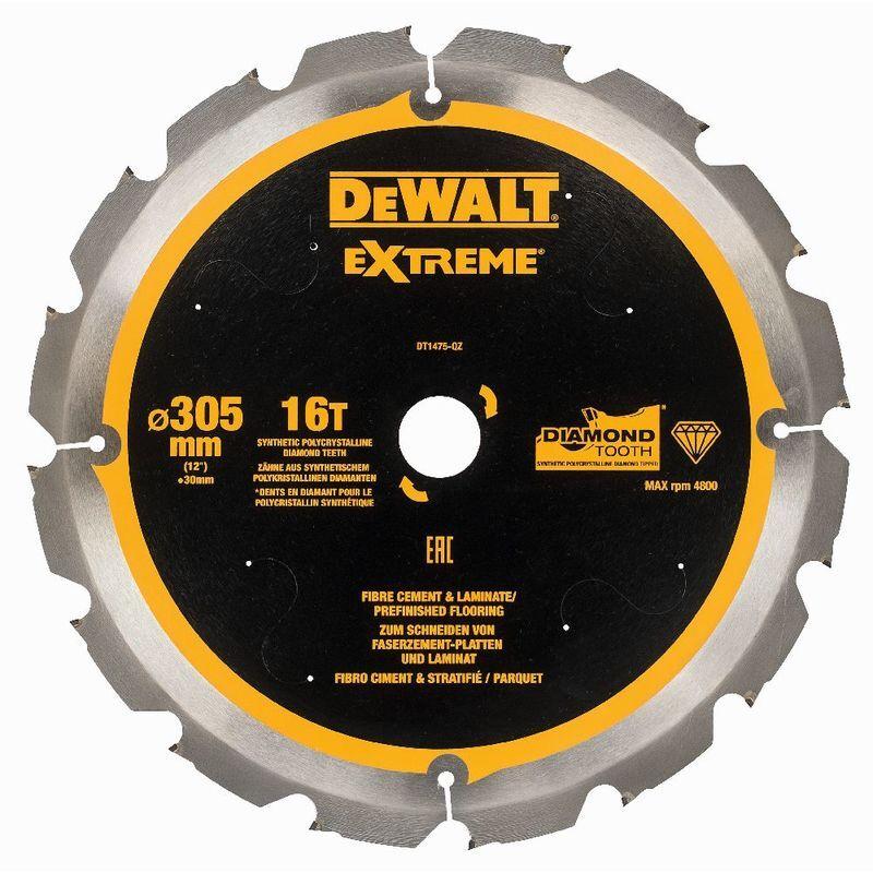 DeWALT Lame denture diamant pour fibre de ciment et laminés, PCD, 305x30 mm, 16