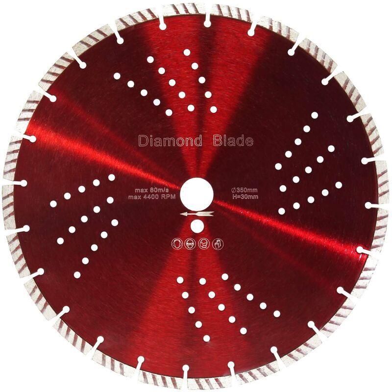 WILTEC Lame de scie diamantée Ø350mm alésage de 30mm segments de turbo de 10mm