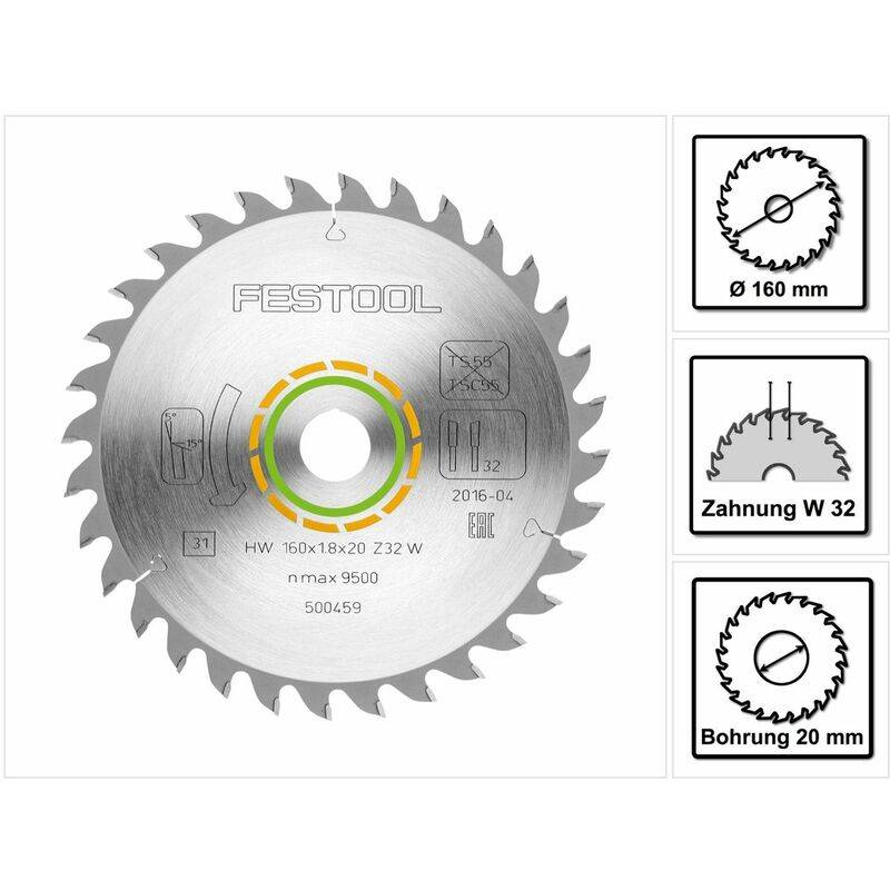 Festool Lame de Scie denture fine 160 x 20 x 1,8 mm W32 160 mm 32 Dents (