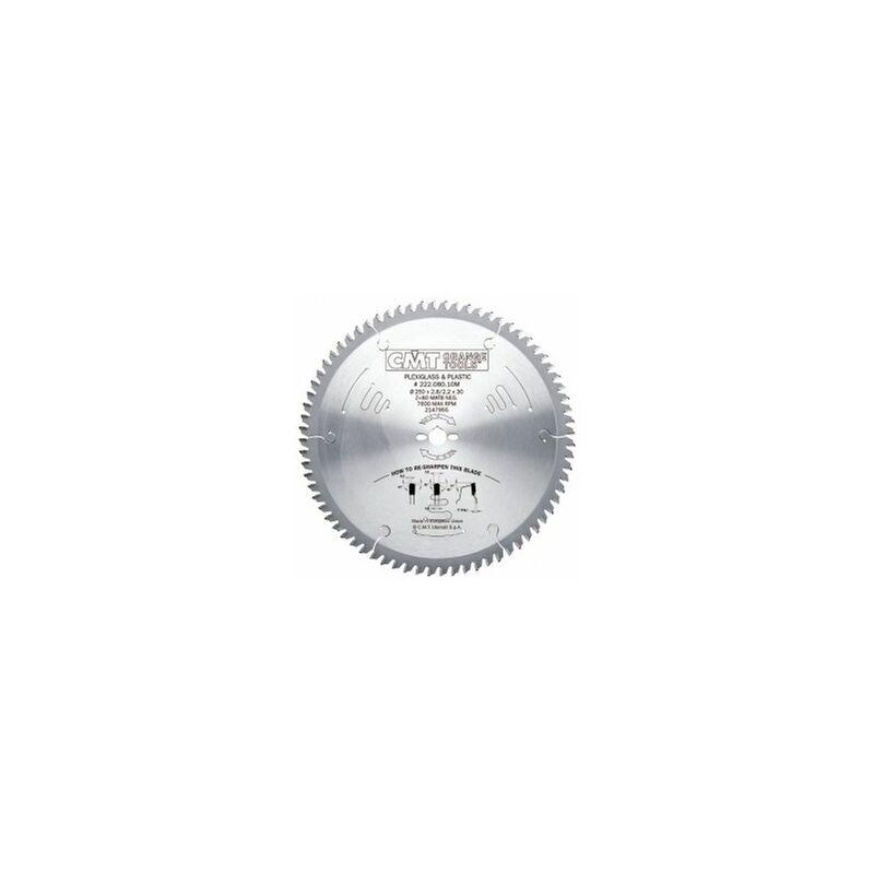 CMT : lame industrielle carbure 250 mm Z= 80 plexiglas - plastique