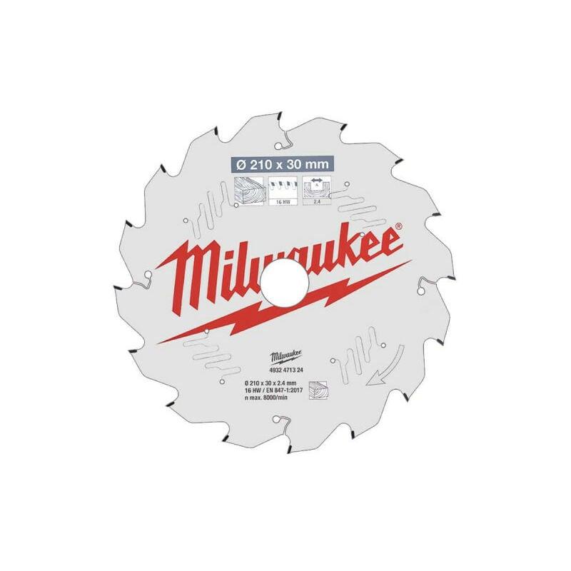 MILWAUKEE Lame scie sur table MILWAUKEE 16 dents 2.4x210mm 4932471324