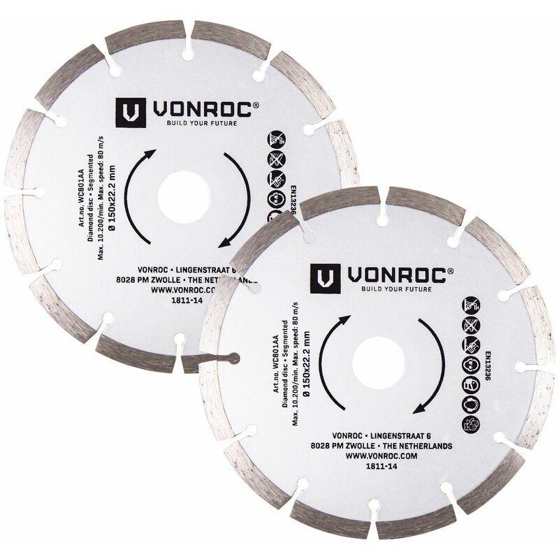 VONROC Disques diamant pour rainureuse - 150 mm universelles - 2 pièces - pierre et