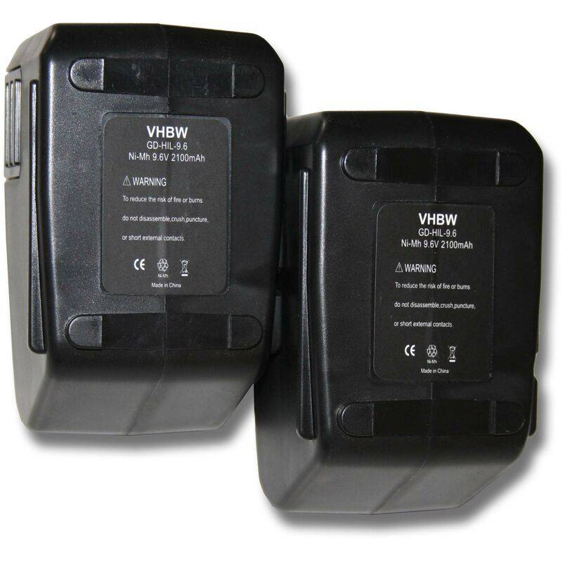 VHBW Lot 2 batteries Ni-MH vhbw 2100mAh (9.6V) pour outils Hilti SF100, SF100A,