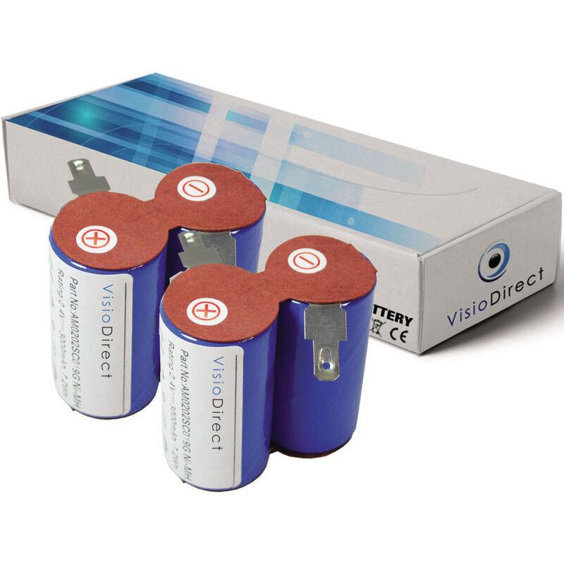 VISIODIRECT Lot de 2 batteries pour Black et Decker HC 410E aspirateur sans fil 3000mAh 2.4V