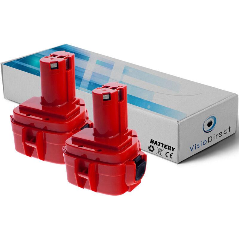 Visiodirect - Lot de 2 batteries pour Makita 4331DWAE scie sauteuse 3000mAh 12V