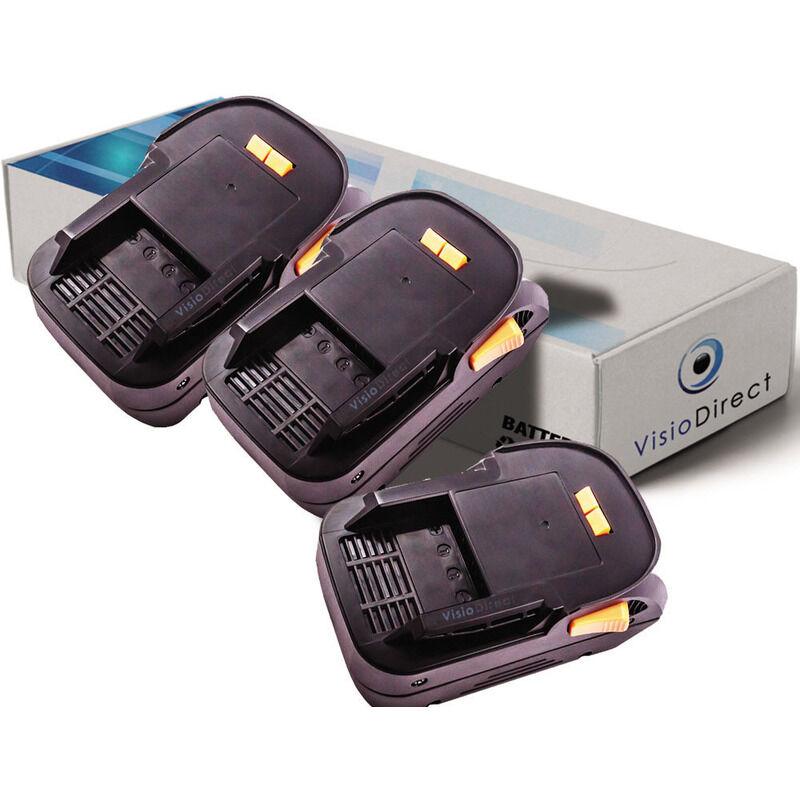 Visiodirect - Lot de 3 batteries pour AEG BHO18 rabot sans fil 3000mAh 18V