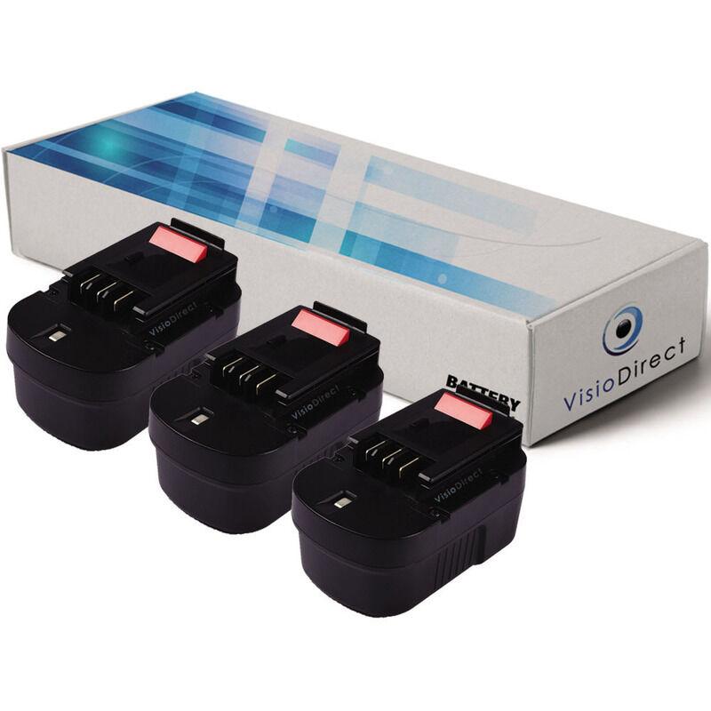 VISIODIRECT Lot de 3 batteries pour Black et Decker KC2002F perceuse visseuse 3000mAh 14.4V
