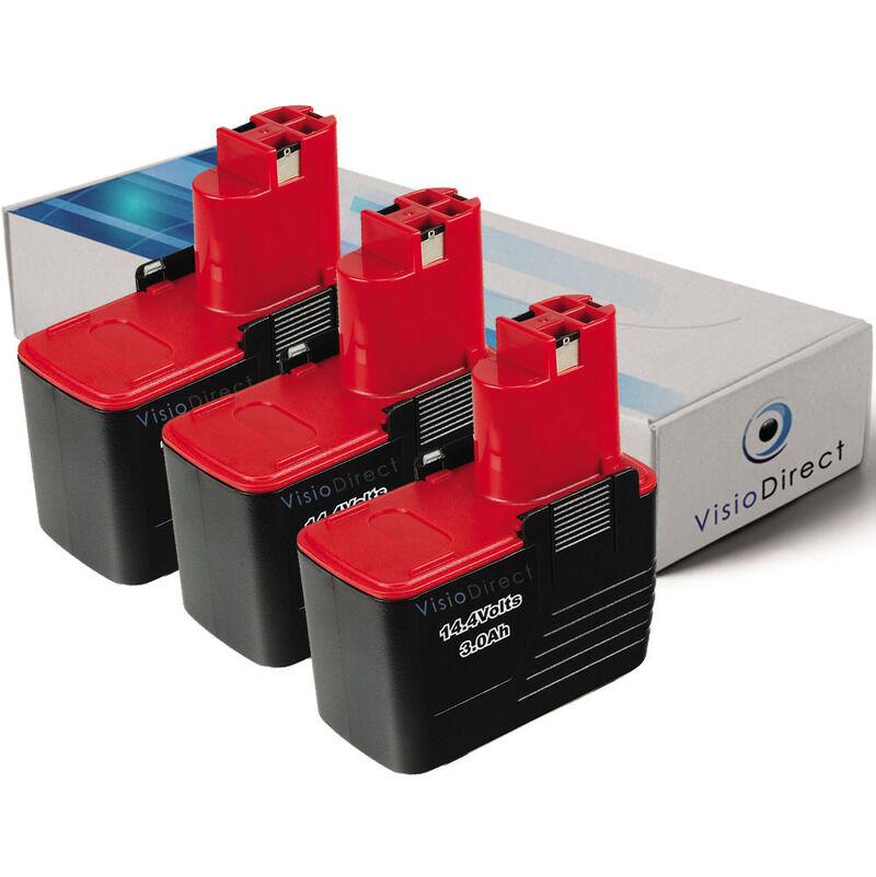 VISIODIRECT Lot de 3 batteries pour Bosch PSR perceuse visseuse 14.4 VES-2 3000mAh 14.4V