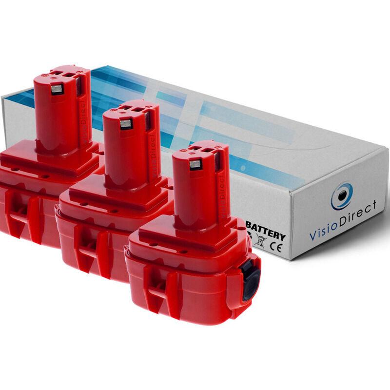 Visiodirect - Lot de 3 batteries pour Makita 4331DWD scie sauteuse 3000mAh 12V