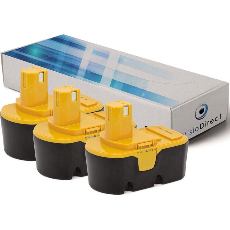 VISIODIRECT Lot de 3 batteries pour Ryobi P200 perceuse visseuse 3000mAh 18V