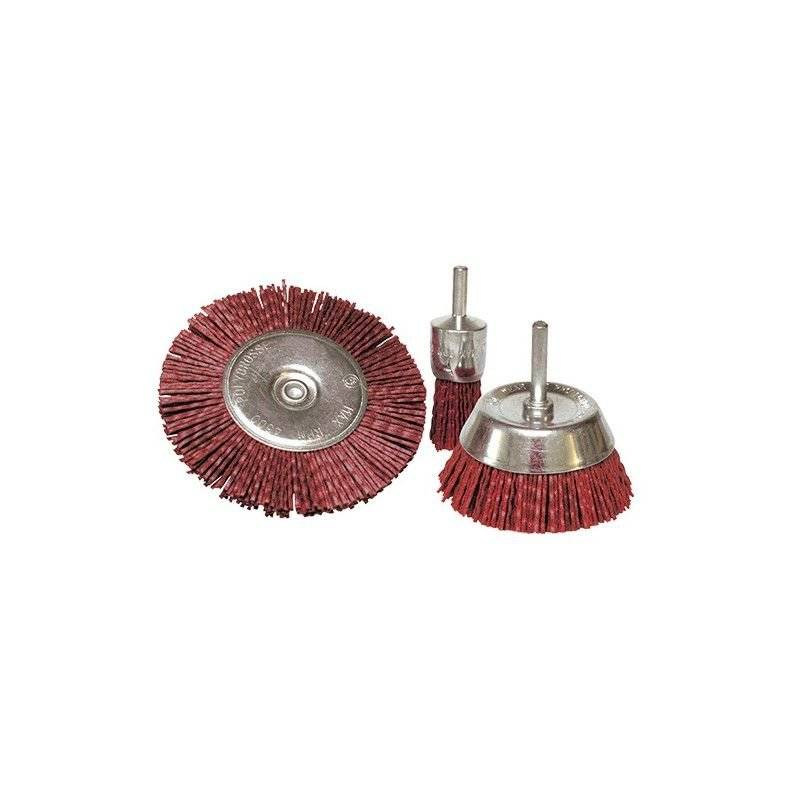 LEMAN Lot de 3 brosses sur tige fil nylon pour décapage doux bois et métaux - 0123.01