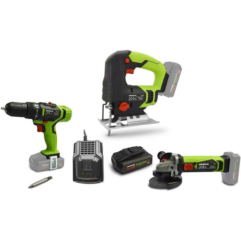 BIGB Lot de 3 outils électroportatif sans fil 20V + 1 batterie 2ah