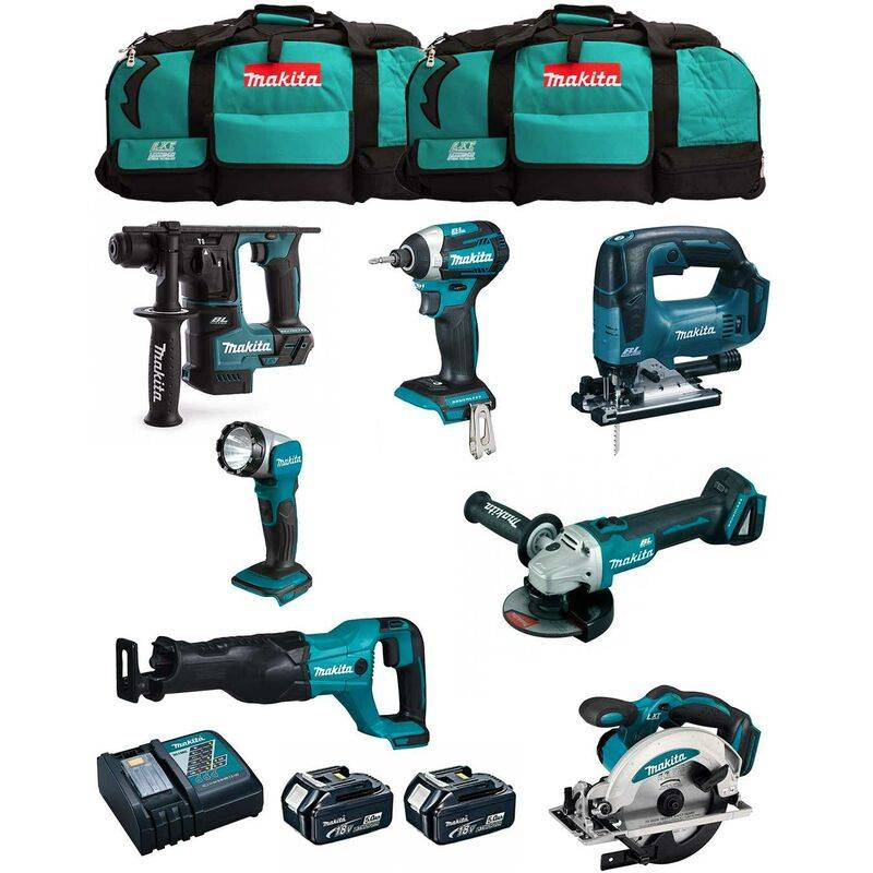 MAKITA Kit MK703 (DHR171 DGA504 DTD154 DJR186 DJV182 DSS610 DML802 2 x 5,0 Ah