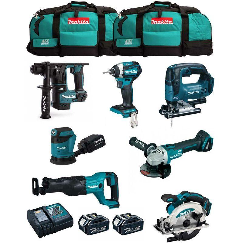 MAKITA Kit MK704 (DHR171 DGA504 DTD154 DJR186 DJV182 DSS610 DBO180 2 x 5,0 Ah